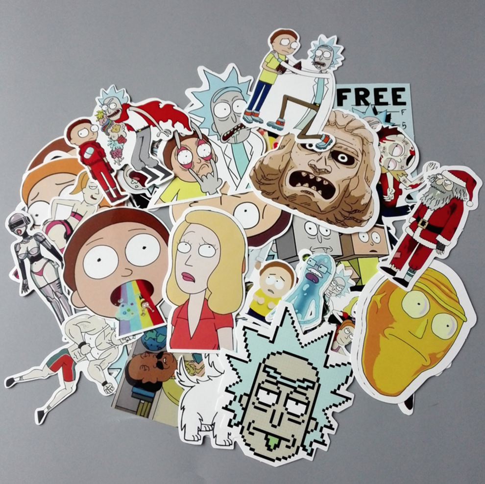 A bag of 35 Rick and Morty Stickers