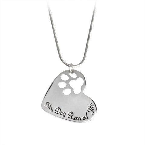 """My Dog Rescued Me"" Silver Dog Love Heart & Paw Print Necklace"
