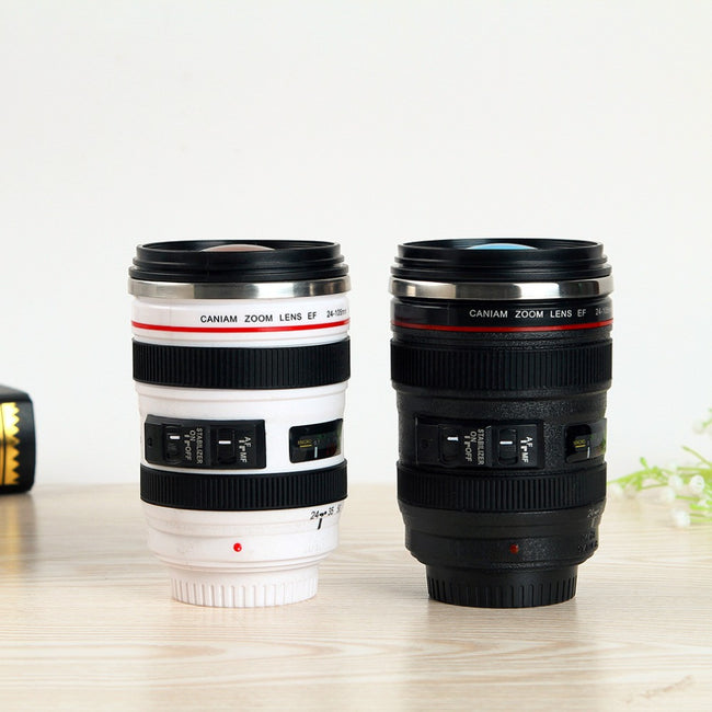 Camera Lens Stainless Steel Coffee Travel Mug