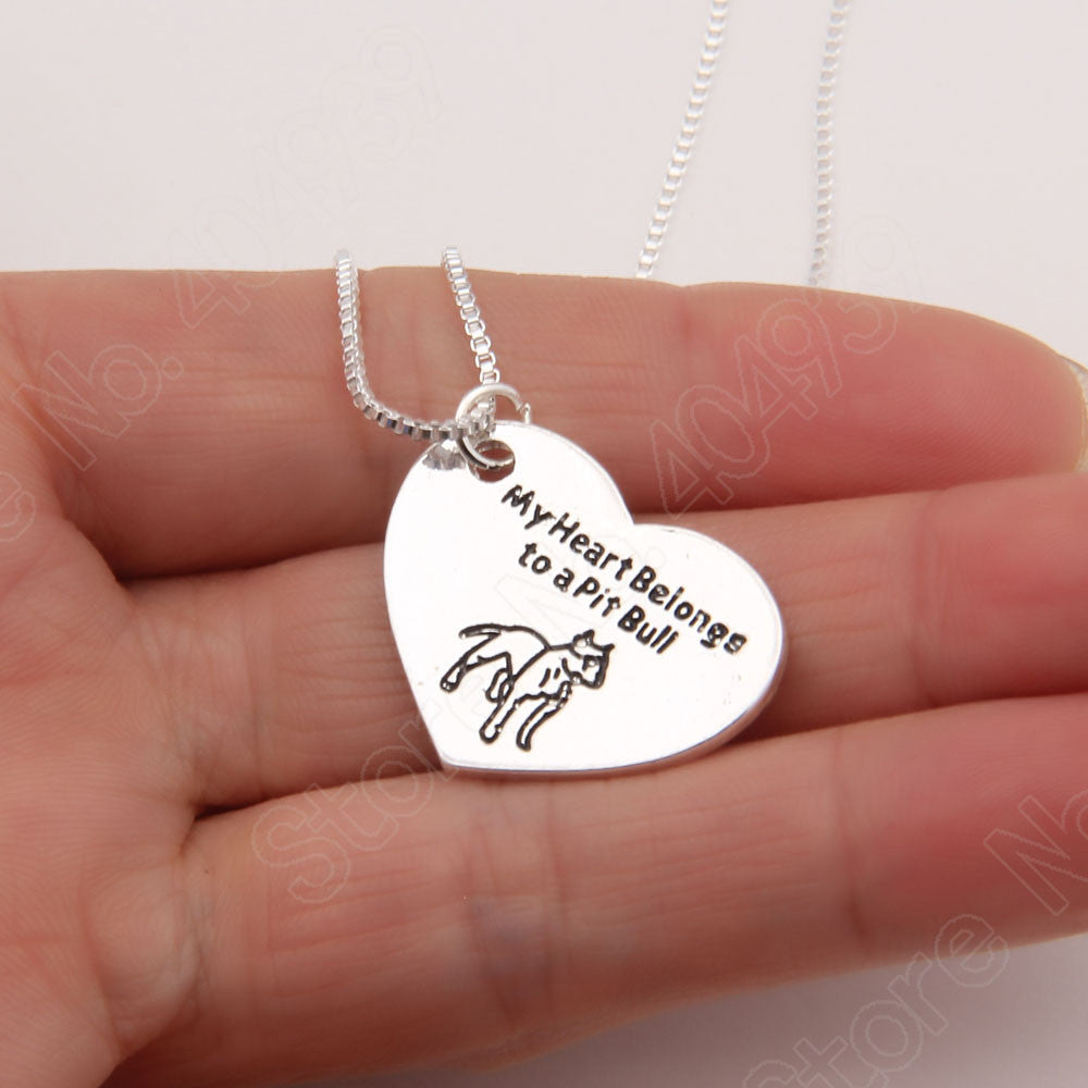 """My Heart Belongs To A Pitbull"" Pendant Necklace"