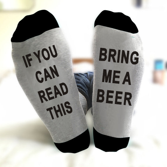 """IF YOU CAN READ THIS BRING ME A BEER"" Unisex Socks Fun Gift"