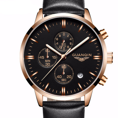 Mens Top Brand Chronograph Leather Watch