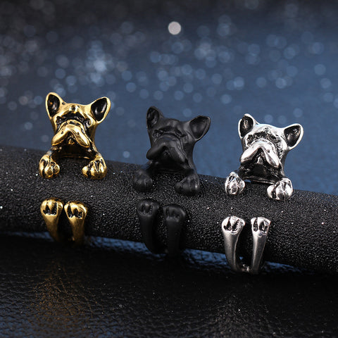 3 Colour Vintage Antique French Bulldog Rings