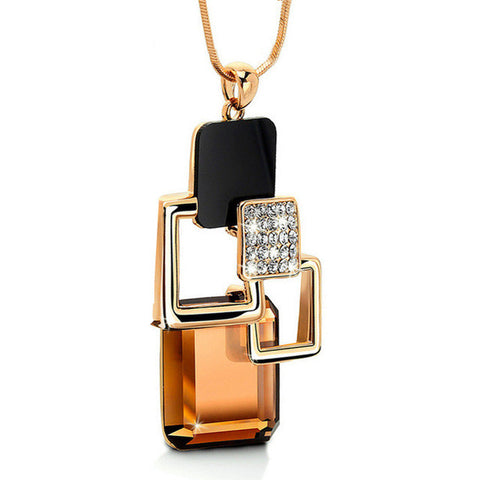 New fashion Golden Geometric Crystal Stone Pendant Necklace
