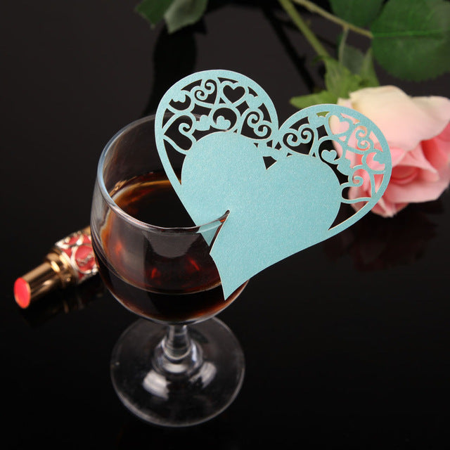 Pack of 50 Heart-shape Wine Glass Name Cards Placeholder and Table Decorations for Your Party Supplies