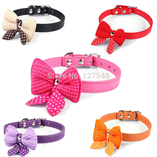 HOT SALE Knit Bowtie Adjustable Leather Dog Collars