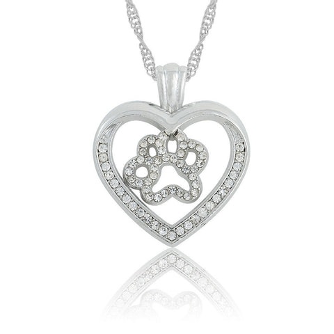 Love Your Animal - Silver Plated Dog Paw Print In Cut Out Heart Crystal Paved Pendant Necklace