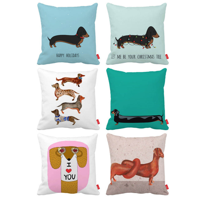 Cute Funny Cartoon Dachshund Dog Print Decorative Throw Pillowcases
