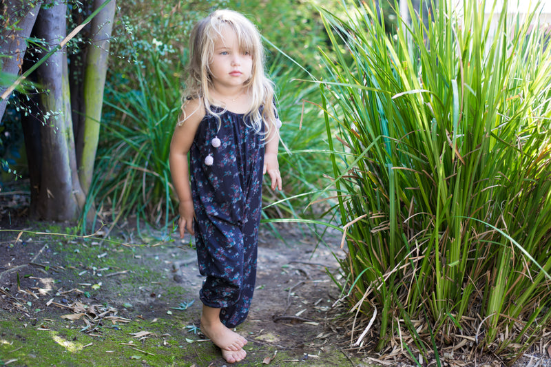 Toddler Girls Cozy Loose Fit  Dark Blue Pom Pom Jumpsuit | Born By The Shore