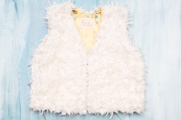 Yellow China Bird Faux Fur Vest