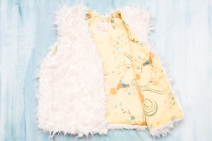 Faux Fur Vest Yellow China Bird