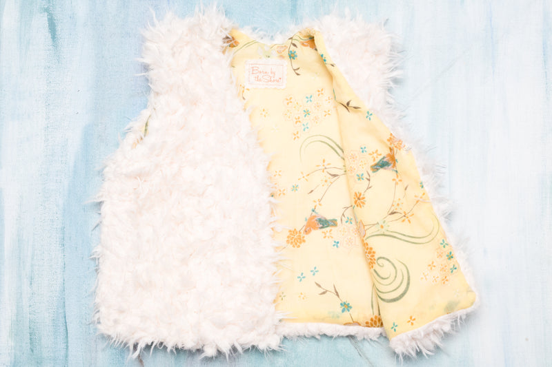 Baby & Toddler Girls Soft White Faux Fur Vest with Cotton Lining | Born By The Shore