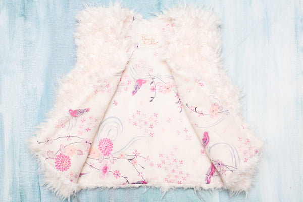Pink China Bird Faux Fur Vest