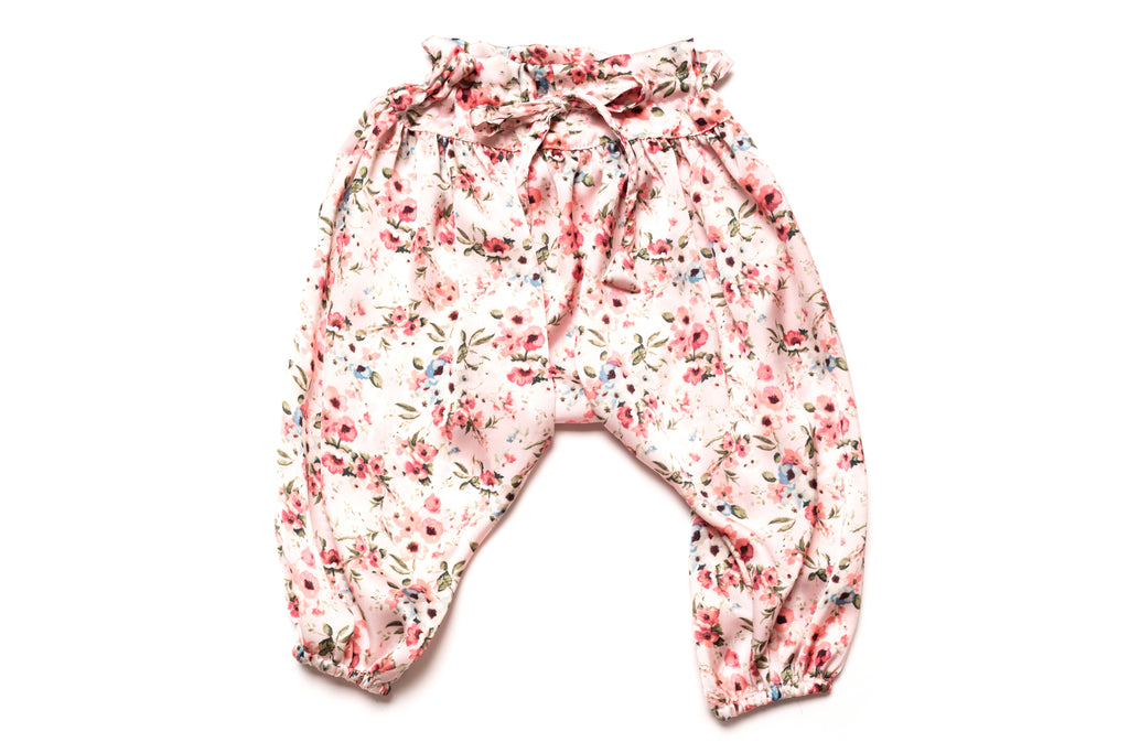 Adjustable Satin Floral Designer Harem Pants fro Babies and Toddler Girls