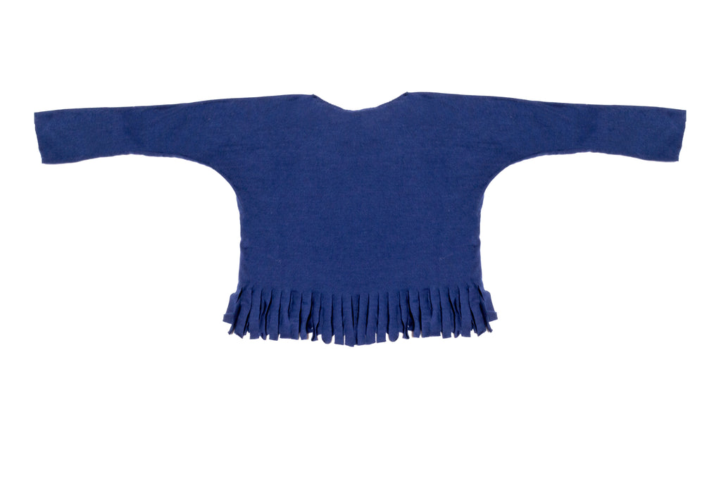 Baby & Girls Long Sleeve Navy Blue Fringe Shirt | Born By The Shore