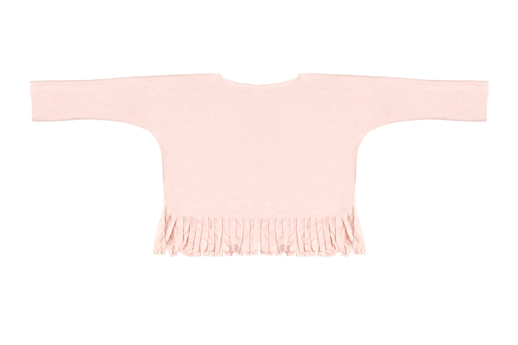 Baby & Girls Light Powder Pink Long Sleeve Fringe Top | Born By The Shore