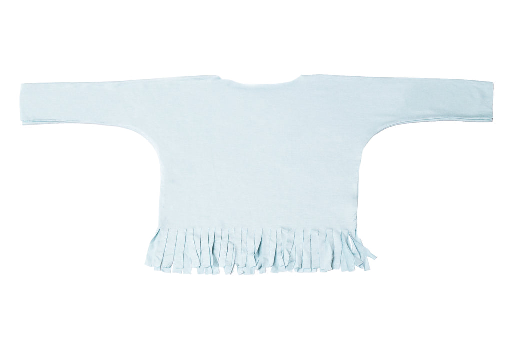 Baby & Girls Long Sleeve Fringe Shirt Baby Blue Top | Born By The Shore