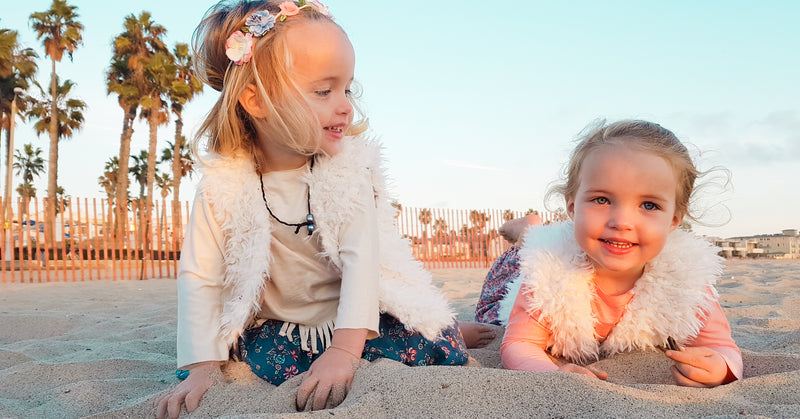 Twin Baby Girls White Faux Fur Vest Boho Twinning Outfits | Born By The Shore