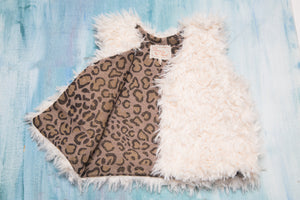 Baby and Toddler Girls White Faux Fur Vest with Leo Print Lining | Born By The Shore