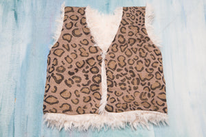Reversible Baby and Toddler Girls White Faux Fur Vest with Leo Print Knitted Lining | Born By The Shore