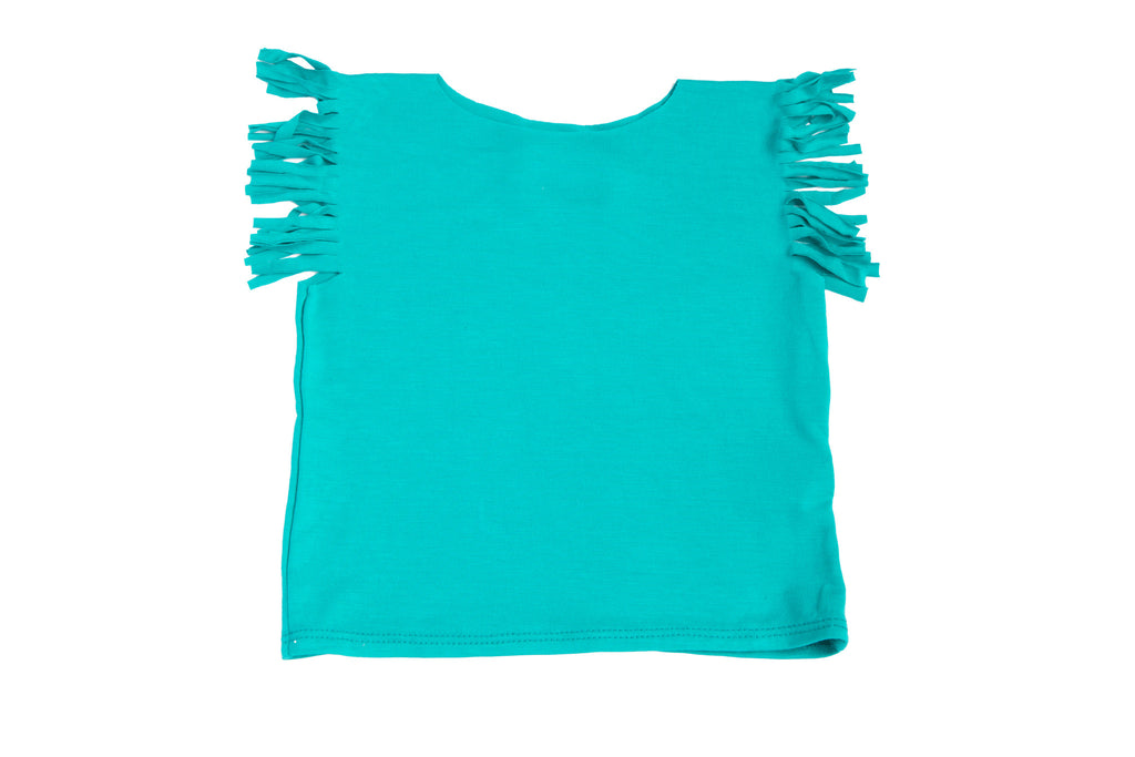 3-6 mo Aqua Blue Baby Girl Cute Fringe Short Sleeve Tee Shirt | Born By The Shore
