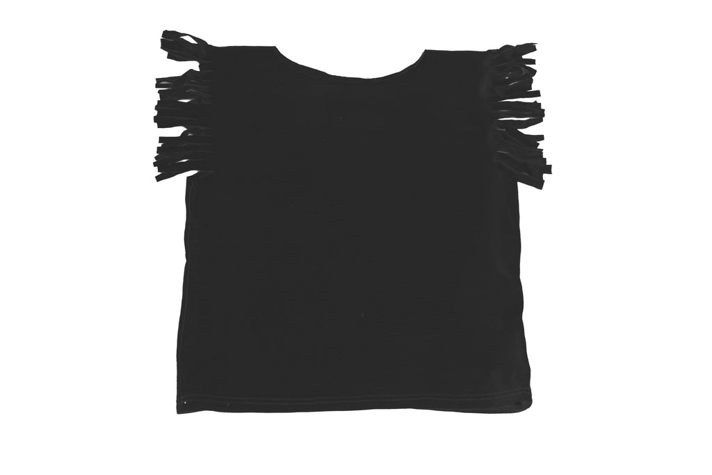 Baby & Toddler Girl Black Fringe Short Sleeve T Shirt Cute Top | Born By The Shore