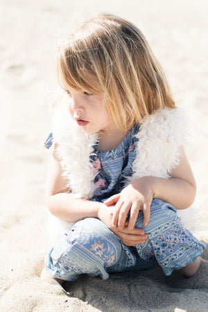 Baby Girls White Faux Fur Vest with Soft Pink Cotton Lining | Born By The Shore