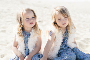 Twin Baby Girls Soft White Faux Fur Vest with Cotton Lining Twinning Outfits | Born By The Shore