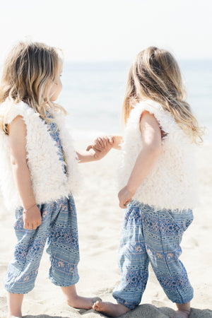Twin Baby Girls Soft White Faux Fur Vest with Cotton Lining | Born By The Shore