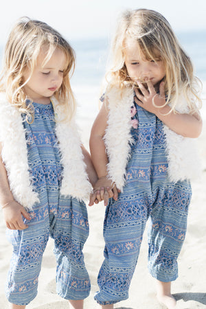 Baby & Girls Adorable Blue Floral Pom Pom Jumper Perfect BFF Twin Outfit | Born By The Shore