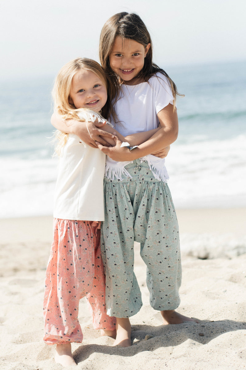 BFF Baby Girls Handmade Adjustable Cute Floral Harem Pants | Born By the Shore