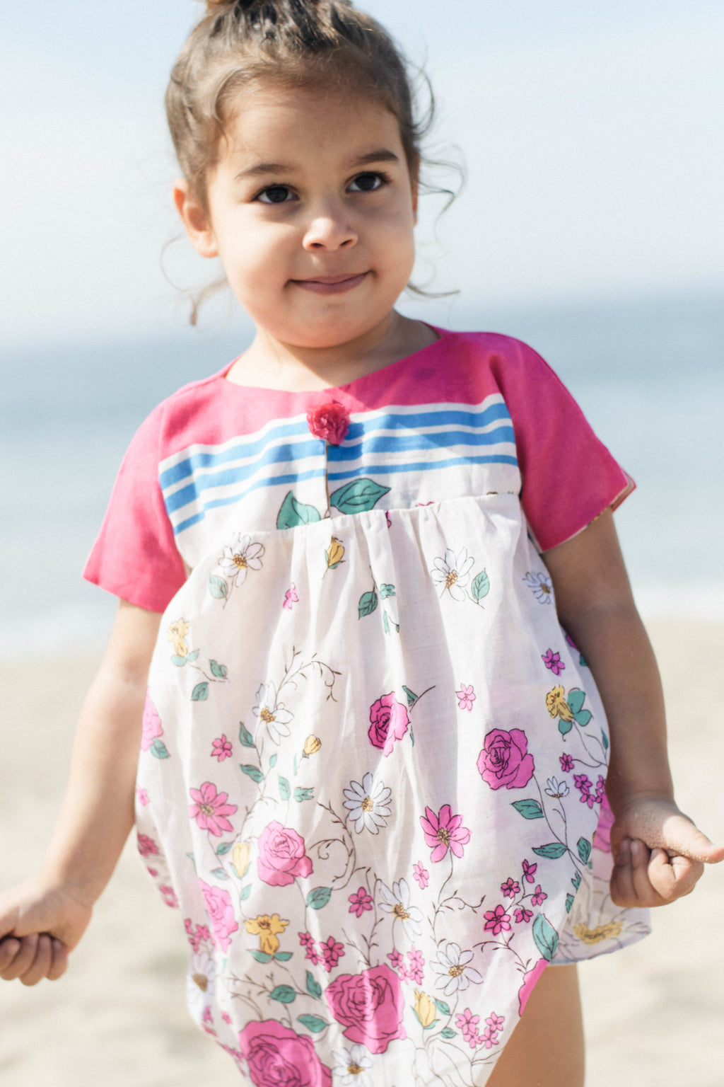 Rainbow Rose Unique Handmade Dress for Baby Girls Holiday Outfit | Born By The Shore