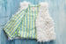 French Lamb Vest Flower Stripes Blue