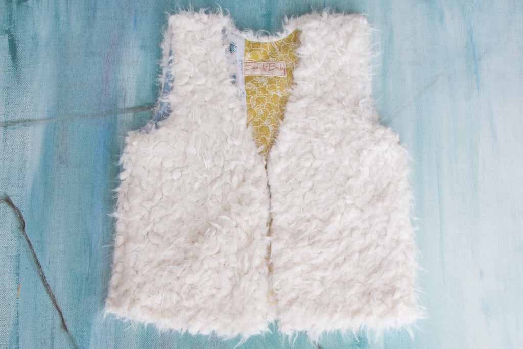 French Lamb Vest Blue Provencale