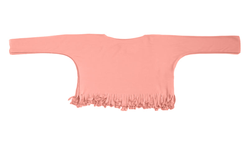 Baby & Girls Long Sleeve Fringe Shirt Coral Pink Cute Top | Born By The Shore