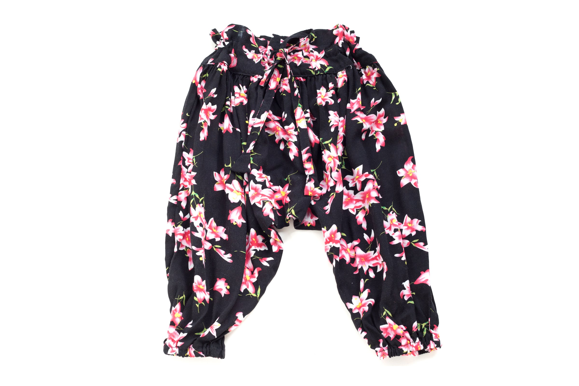 Summer Pants for baby with a funny pattern Roses and leaves on a striped background Pants Baby  ORGANIC Baby clothes  newborn harem pants