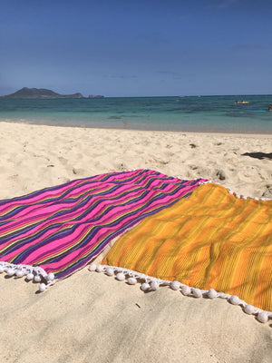 Pom Pom Beach Towel Thin Stripes