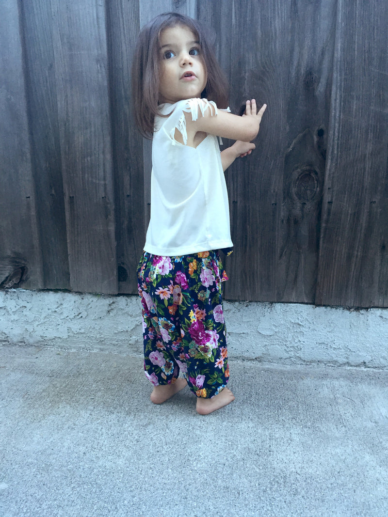 Cute & Cozy Dark Floral Designer Harem Pants for Babies & Girls | Born By The Shore