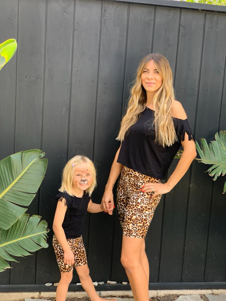 Mommy and Me Animal Print Biker Shorts for Women matching outfit with my little girl | Born By The Shore