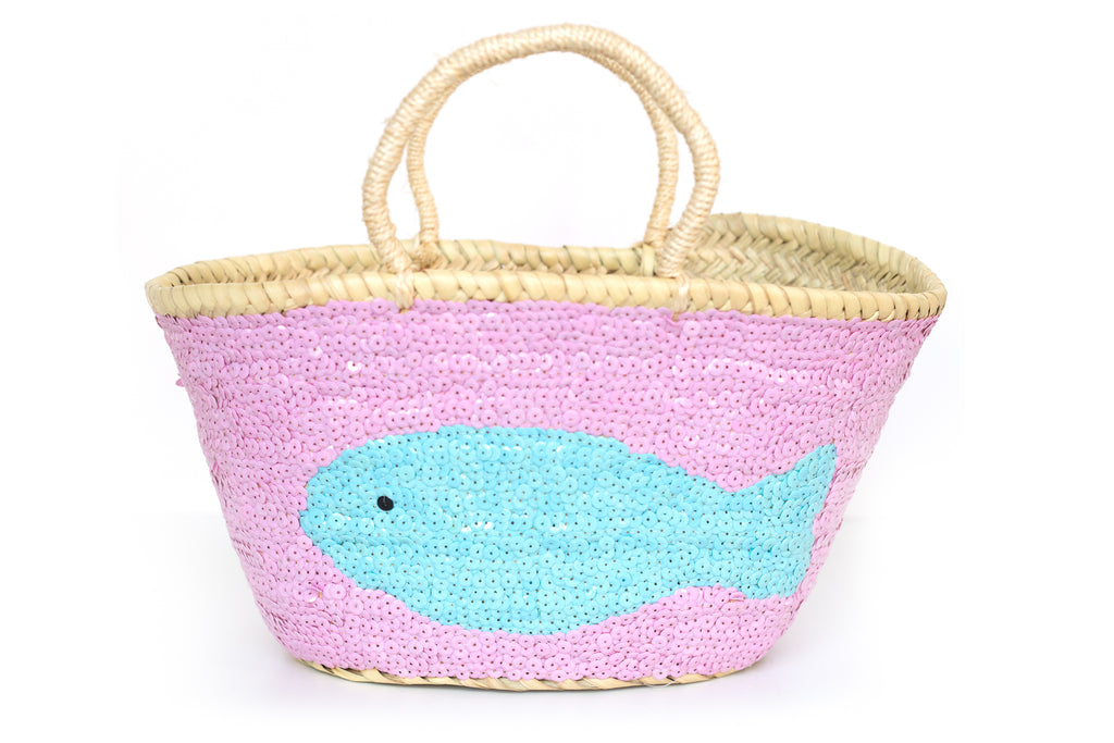 Basket Sequin Blue Fish