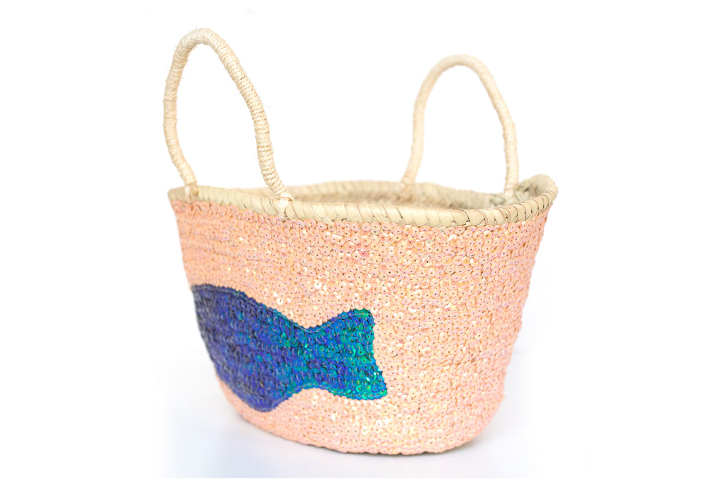 Basket Sequin Sea Green Fish