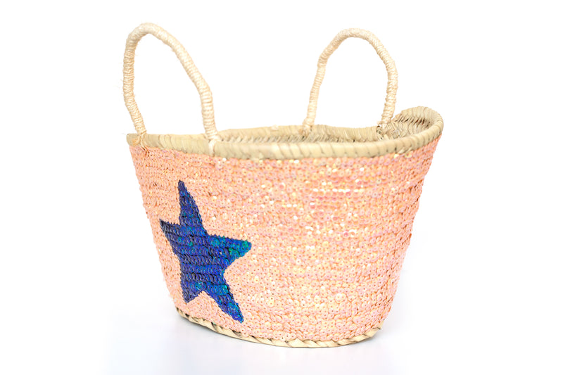Sequin Blue Star Planter Hobby Mini Basket