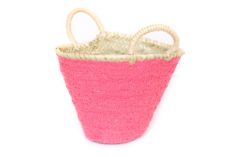 Strawbery Pink Sequin Planter Home Decor Basket