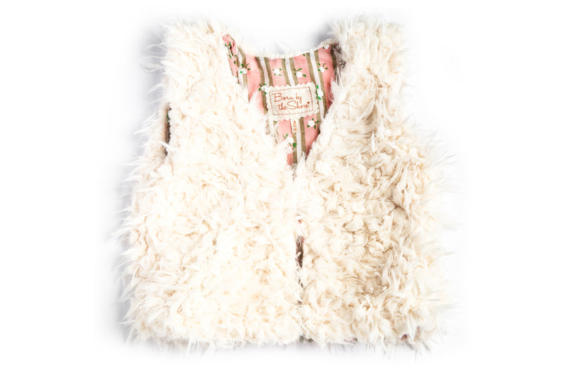 Faux Fur Vest Flower Stripes Rose