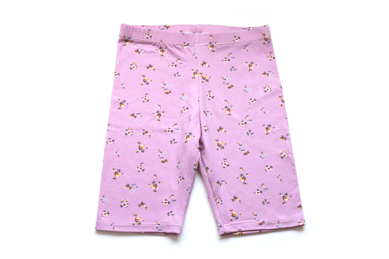 Hip Pink Floral Biker Shorts for Toddler Girls |  Born By The Shore