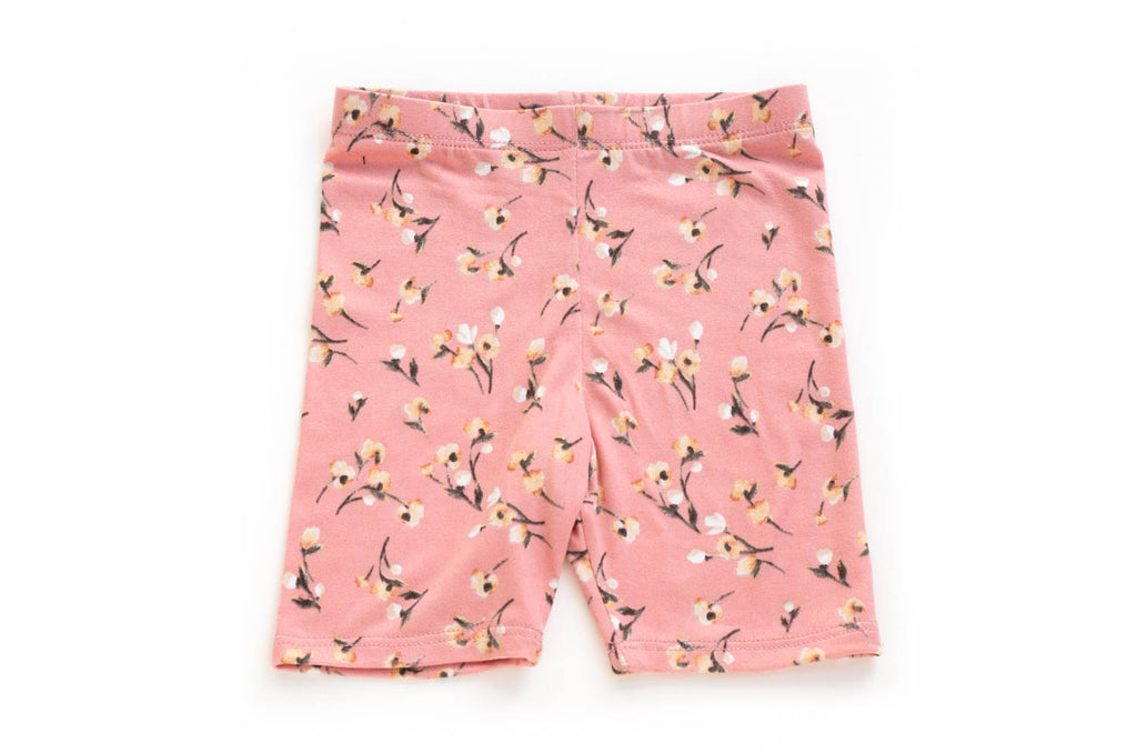 Cute Chic Flower Print Biker Shorts for Toddler Girls | Born By The Shore