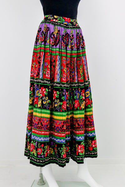 'Phool' Indian Cotton Floral Print Maxi Skirt