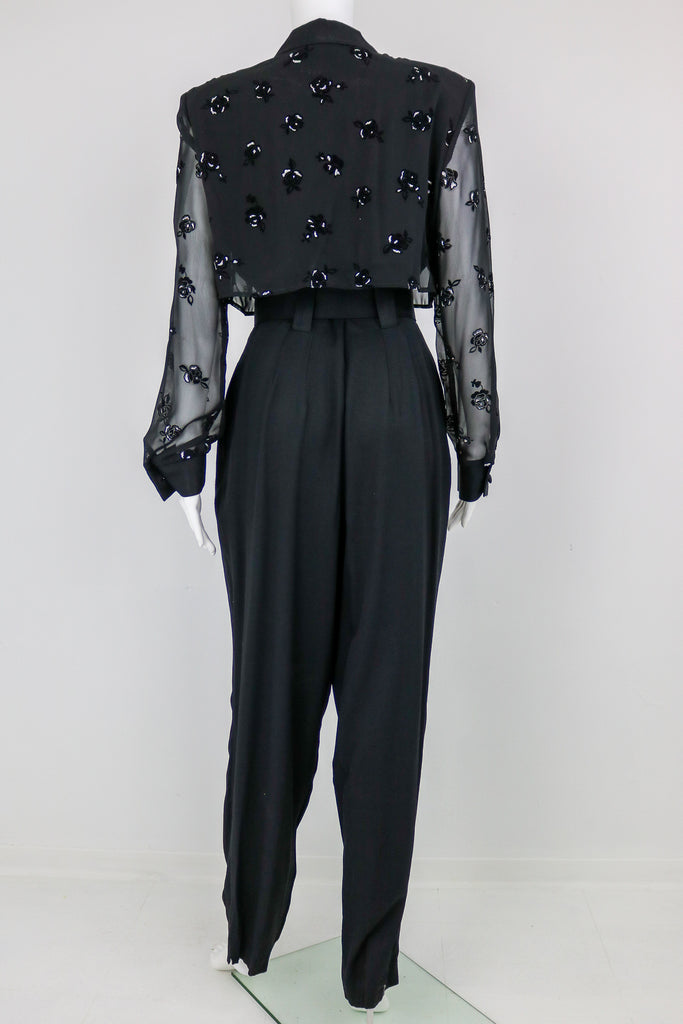 80's Black Long Sleeve Jumpsuit With Glitter Velvet Rose Pattern