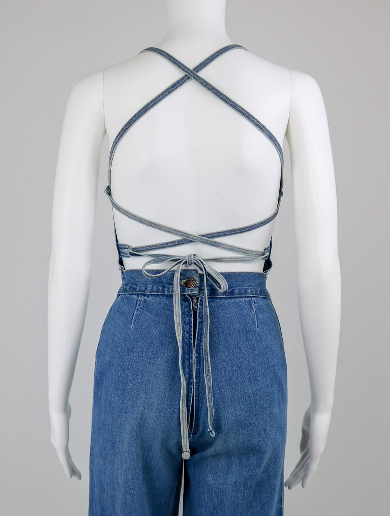 60's Cross Back Halter Overalls