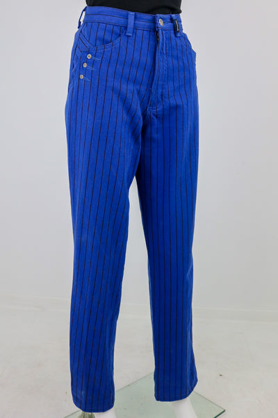 'Rockies' Blue and Black Pinstripe High Waist Jeans